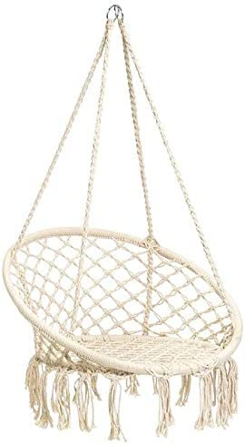 N M Products Hammock Chair Macrame Swing, Boho Style Rattan Chair Hanging Macrame Hammock Swing Chairs for Indoor Outdoor Home Patio Porch Yard Garden Deck, 265 Pound Capacity Beige
