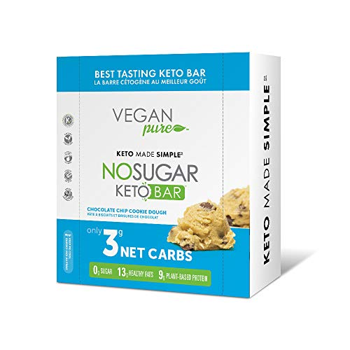 New! Vegan Pure No Sugar Keto Bars - Vegan Keto Food Bars, Low Carb/Low Glycemic, 0 grams of Sugar, All Natural, 9g of Plant Based Protein, 13g of Good Fats per Bar, Only 3g Net Carbs, #LCHF
