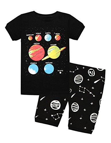 Meteora Boys Short Pajamas Toddler Kids Super Hero PJS Snug Fit Sleepwear Summer Clothes Shirts (Planet 2, 2T) from Meteora