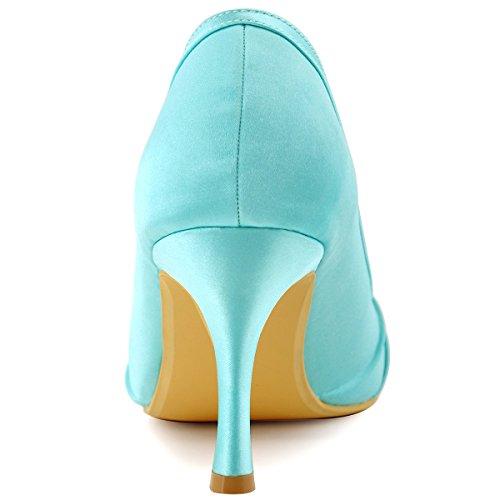 ElegantPark EP2094AE Mujer Peep Toe AE Desmontable Zapatos Clips Zapatillas El tacón alto Satén Baile Zapatos de Boda Menta