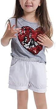 Feiterawn Girl's Cotton Short Sleeve/Sleeveless Heart Sequin Print T S
