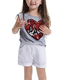 Feiterawn Girl's Cotton Short Sleeve/Sleeveless Heart Sequin Print T Shirt