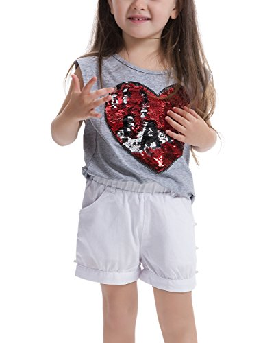 Feiterawn Summer Grey Cotton Sequin Tank Top Girls Round Neck Letter Print T Shirts Sleeveless Top Tees, Height 55.1 inch, Grey