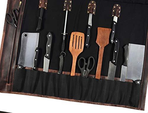 Leather Knife Roll Storage Bag | Elastic and Expandable 10 Pockets | Adjustable/Detachable Shoulder Strap | Travel-Friendly Chef Knife Case Roll By Aaron Leather (Raven, Canvas) by AARON LEATHER GOODS VENDIMIA ESTILO (Image #4)