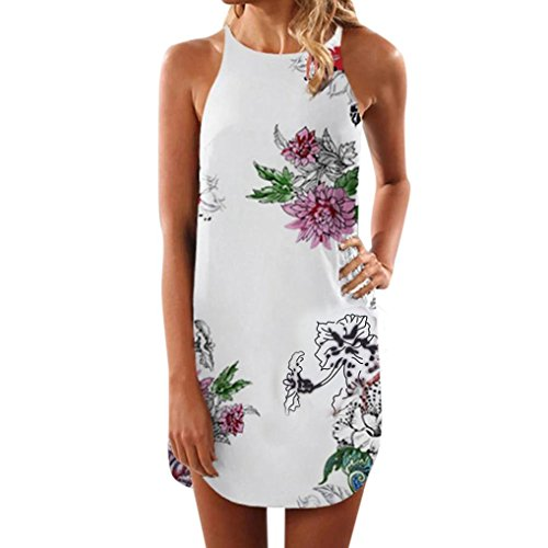 Syban Women Summer Sleeveless Floral Striaght Casual Strappy Print Mini Dress NY/L (Dress Charmeuse Kimono)