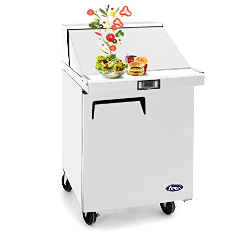 Salad Sandwich Prep Table Refrigerator,ATOSA Commercial 1 door Stainless Steel Salad Sandwich Prep Table Refrigerator MSF8301 for Restaurant Kitchen 6.5 Cu.Ft. 27.5W30D43.7H inch 33℉-38℉