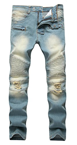 NITAGUT Men's Ripped Slim Straight Fit Biker Jeans With Zipper Deco (30W x 31L, Vintage Denim)