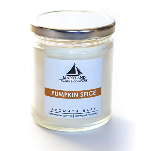 Materials Recyclable (Maryland Candle Company - Pumpkin Spice Candle 7 oz, All Natural Soy Wax, Infused with Essential Oils, Aromatherapy, Recyclable Materials, Cotton Wicks, Phthalate Free - Made in USA)