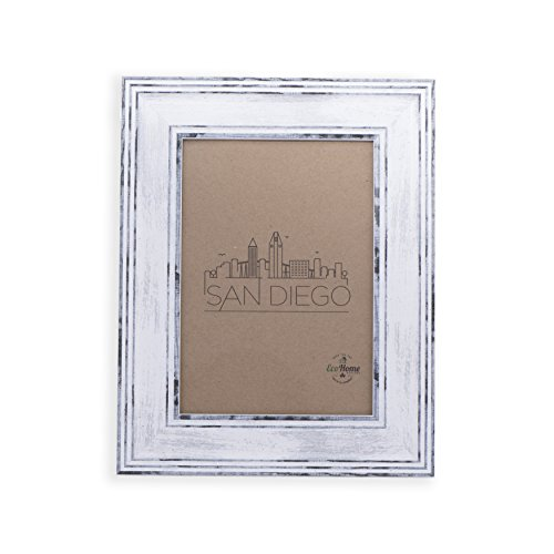 (8x10 Picture Frame Distressed White - Mount Desktop Display, Frames by EcoHome)