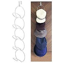 Over The Door Hat Racks for Baseball Caps, Hanging Hat Rack Holder Vertical Hat Display Rack Metal Scarf Hanger Organizer Holder Behind Door Closet Home Organization -White