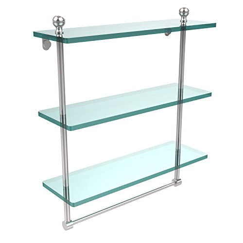 Brass Allied Polished Shelf - Allied Brass MA-5/16TB-PC Mambo Collection 16 Inch Triple Tiered Glass Shelf with Integrated Towel Bar, Polished Chrome