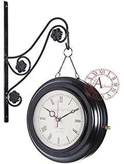 akhandstore 8 inch antique wall clock chain metal retro station clock double side railway clock