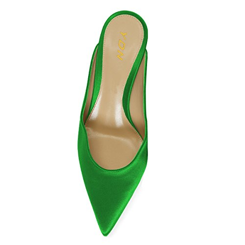 Sandals Kitten Clogs Green YDN Mules stain Slide on Shoes Slip Women Low Toe Heel Pumps Pointed Dressy OOw7xfBTq