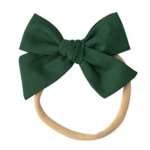 Girls Emerald Green - Handmade Cotton Hair Bows For Baby Girls and Toddlers (One Size Fits All) (Emerald, Nylon)