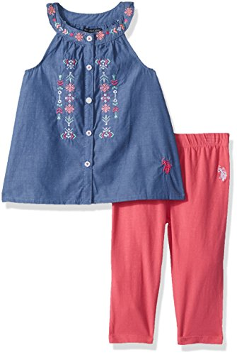 U.S. Polo Assn. Little Girls' Fashion Top and Legging Set, Embroidered Button Front a Line Top Camellia Rose, (Embroidered Girls Pant Set)