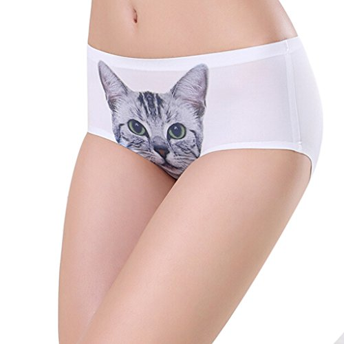 Zmart Women's Smooth Seamless Lingerie Sexy Cat Printed Hipster Panties Briefs WH,White,One size=US 00-8