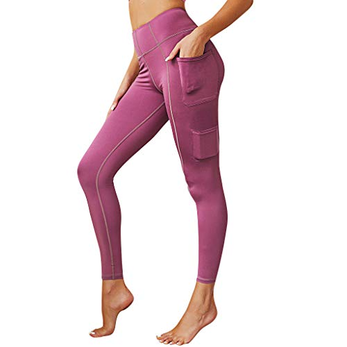 (AIEason Women's High Waist Yoga Pants Tummy Control Workout Ruched Butt Lifting Stretchy Leggings Booty Tights with Pocket)