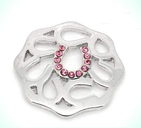 Lucky Horseshoe Design with Pink Rhinestones Octagon 23mm Disc Coin Medallion