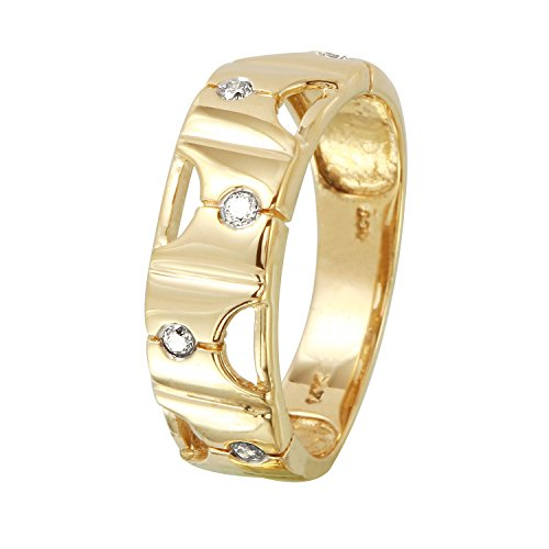 0.1 Carat Natural Fancy Yellow Diamond 14K Yellow Gold Wedding Band for Women Size 7 0.1 Ct Diamond Bezel