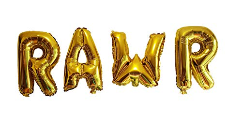 RAWR Balloons by PinkFish Shop - Gold Foil 16 inch Balloons for Dinosaur Birthday Party Package Decorations Supplies TREX -
