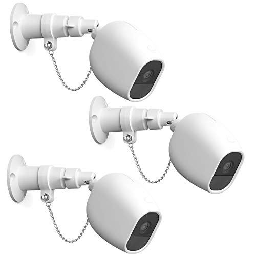 HOLACA Security Outdoor Mount for Arlo pro Arlo pro 2 with Anti-Theft Chain,Silicone Protective Case-Extra Protection for Your Arlo Camera (3 Pack, White)