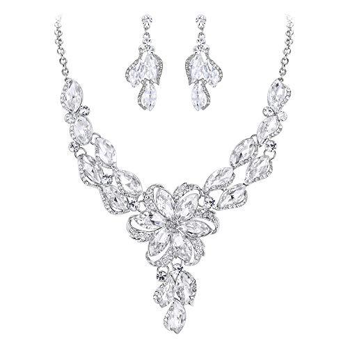 BriLove Costume Fashion Necklace Earrings Jewelry Set for Women Crystal Peach Flower Enamel Statement Necklace Dangle Earrings Set Clear Silver-Tone