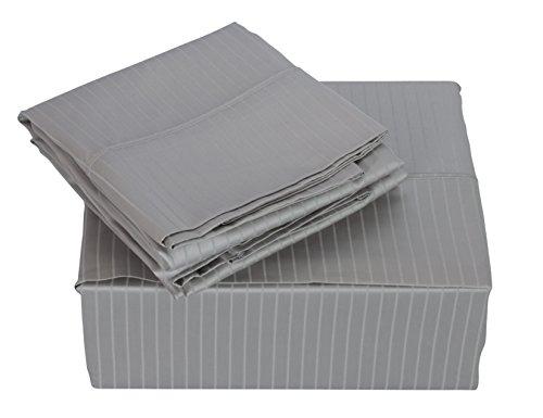 (Austin Horn Classics 600 Thread Count Dobby Supima Cotton 4-Piece Sheet Set, King, Grey)