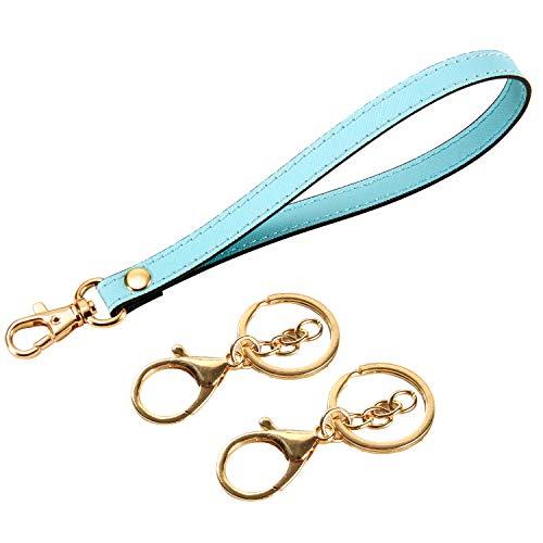 (Wristlet Strap, Genuine Leather Keychain Wristlet KeyChain Hand Strap for Wallet Purse Clutch Cellphone Wristlet Key (Sky Blue + 2Key Chain))