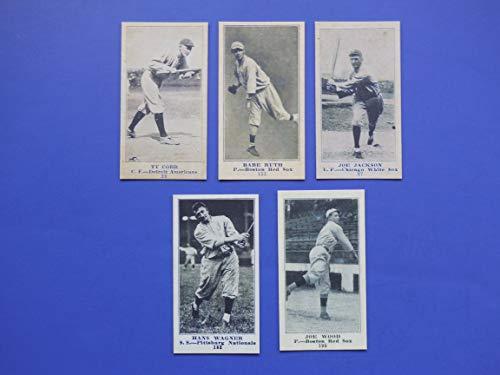1916 Baseball (5) Card Reprint Lot (Babe Ruth) (Smokey Joe Wood) (Honus Wagner) (Shoeless Joe Jackson) (Ty Cobb) ** Yankees Tigers, Red Sox, Pirates, White Sox -
