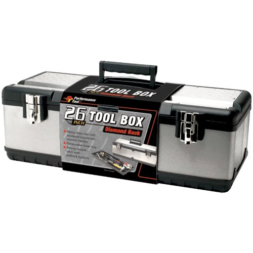 Performance Tool W54026 26 Inch Steel Tool Box with Removable Tote 26 Inch Steel Tool Box