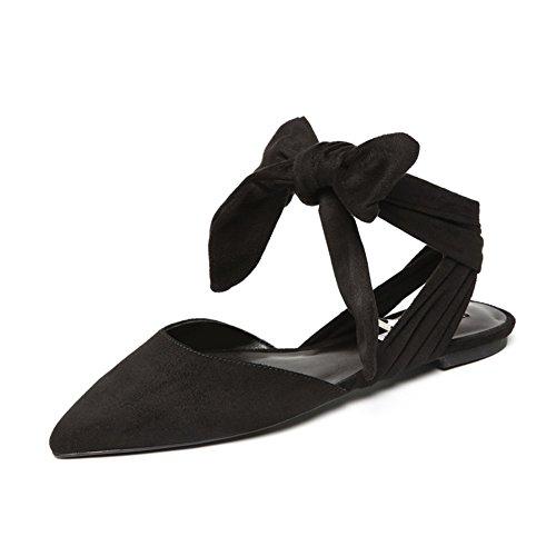 Europa En Primavera Y Verano Viento Zapatos Puntiagudos,Contratista Plano Tiras Y Los Zapatos,Hueco Arco Sandalias Negro