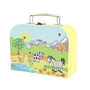 Bieco Kinderkoffer Tiermotiv, 15x20cm   Kinderkoffer Pappe   Köfferchen   Kinder Spielkoffer   Miniatur Koffer…
