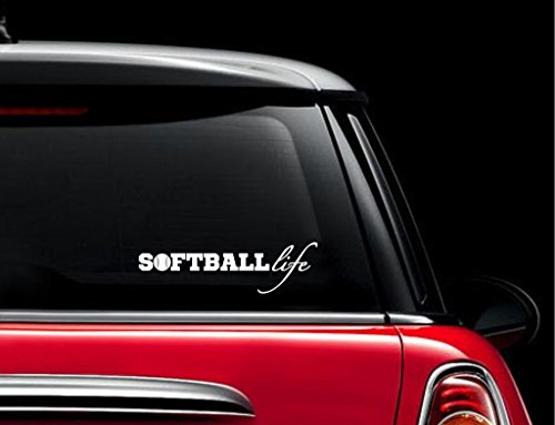 (Softball Life Decal Vinyl Sticker|Cars Trucks Vans Walls Laptop| WHITE |7.5 x 3 in|CCI659)