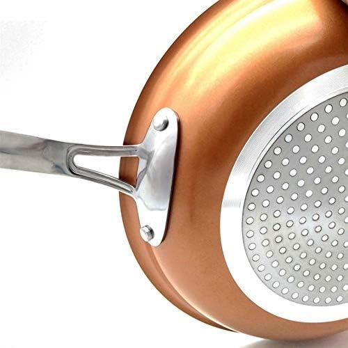 1 lot de poêles en cuivre anti-adhésif avec revêtement en céramique et induction - Passe au four et au lave-vaisselle
