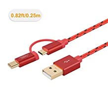 CableCreation 2 in 1 USB C & Micro USB Cable,0.8 Feet Short Braided Type C Micro USB Cable for New Macbook(Pro),Google Pixel XL,Android and Type C devices,Red Aluminum