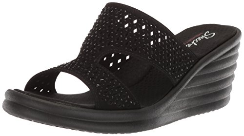 Skechers Cali Women's Rumbler Wave-Ibiza Summer Slide Sandal,black/black,5 M US