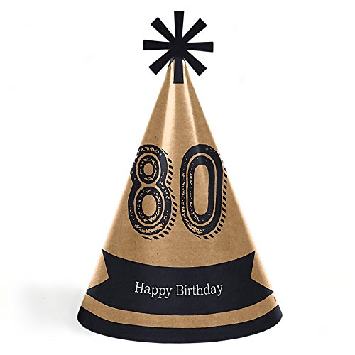 80th Milestone Birthday - Dashingly Aged to Perfection - Cone Happy Birthday Party Hats for Kids and Adults - Set of 8 (Standard Size) ()