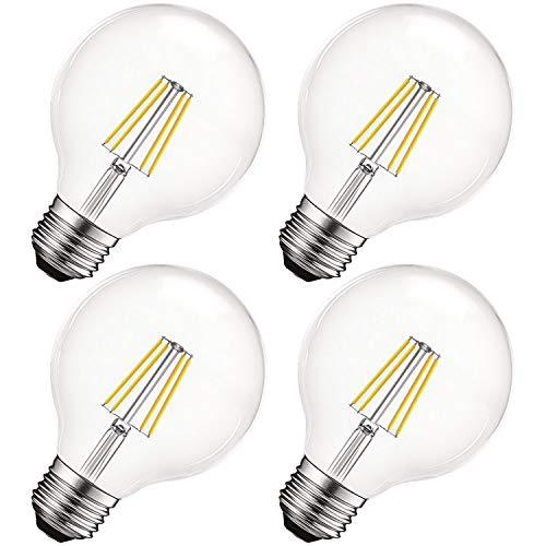Luxrite Vintage G25 LED Globe Light Bulbs 60W Equivalent, 550 Lumens, 5000K Bright White, Dimmable Round Edison Bulb 5W, Clear Glass, LED Filament Bulb, E26 Standard Base (4 Pack) ()