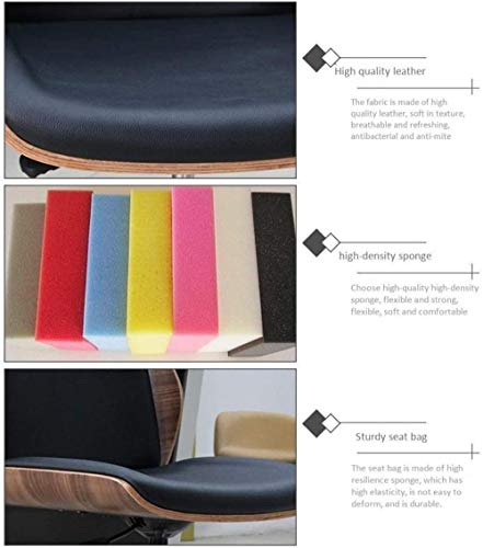 Kontorsstol svängbar stol dator stol skrivbord stol hem, massivt trä + läder, inga armstöd, justerbar fåtölj