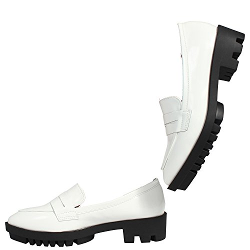 WOMENS LADIES SLIP ON BROGUE CHUNKY MID HEEL LOAFER COURT SHOES SIZE 3-8 White Pu xCtX5Yz8