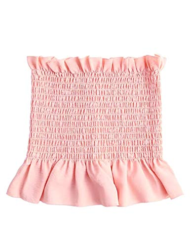 - KAMISSY Women's Frill Smoked Crop Tank Top Bandeau Tube Top Vest (Medium, Pink)