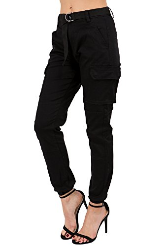 TwiinSisters Women's High Rise Slim Fit Color Jogger Pants with Matching Belt - Size Small to 3X (XX-Large, Black Cargo #Rjj2048)