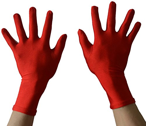 Seeksmile Adult Lycra Spandex Gloves Many Colors Available (Free Size, Red) - Spandex Stretch Costumes