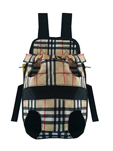 (Wongstore Canvas Front-facing Dog Carrier Outdoor Travel Pet Bag Backpack Beige Plaid S)