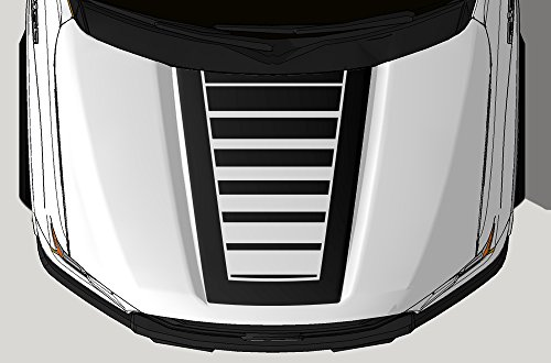 Factory Crafts Strobe Hood Graphics Kit Vinyl Decal Wrap Compatible with Ford F-150 2015-2017 - Matte Black