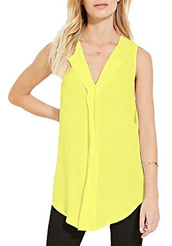V Vest Haut Blouses Femme Col Top sans Et Chemisiers Chemises Unie New Jaune Casual Manches Mousseline Couleur HqWPcgW6
