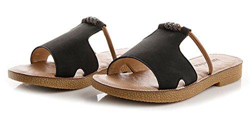 para YVWTUC Estilo tacón Romano de Abierta con Mujer Negro Zapatillas Puntera wZFU7qZA