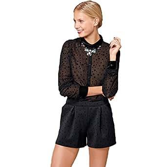 La Redoute Womens Flocked Star Motif Shorts Black Size Us 12 - Fr 42