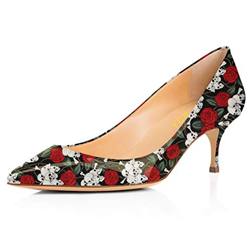 (YCG Women's Low high Heels Pumps Red Rose Skull Tatoo Printing Wedding&Party Pleather Comfort Slip on Shoes US 9)