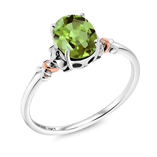Gem Stone King 925 Sterling Silver and 10K Rose Gold Ring Oval Green Peridot 0.80 cttw (Size 9) ()